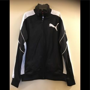 Puma Mens Zip Up Track Jacket Black White M